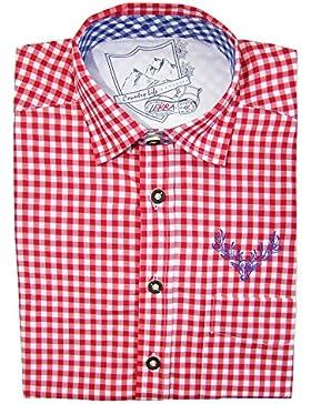 Karo Trachtenhemd Leopold Rot Gr. S (37/38) - Schönes zweifarbig kariertes Marken Hemd vom deutschen Hersteller
