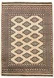 CarpetFine: Pakistan Buchara 2ply Teppich 128x180 Beige,Schwarz - Handgeknüpft - Ornament