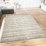 VIMODA Teppich Modern Kurzflor Wohnzimmer Teppiche Meliert in Beige Pflegeleicht, Öko Tex Zertifiziert, Maße:160 x 230 cm