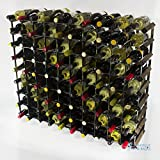 Classic 90 bottle dark oak stained wood and galvanised metal wine rack ready assembled