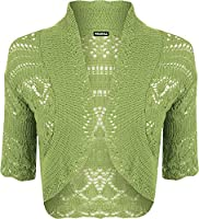 Ladies Crochet Shrug Knitted Bolero Top Women Cardigan - Lime Green - 12/14