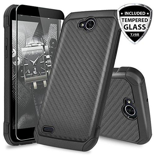 LG X Power 2M320Fall, LG Fiesta LTE Case Schutzhülle, LG X Charge Fall, LG Fiesta 2Fall, mit TJS [Hartglas Displayschutzfolie] Ultra Dünn Hybrid stoßfest Rugged Hülle Armor, Carbon Fiber T-mobile Carbon