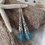 Gioielli fatti a mano dalle Hawaii, orecchini a goccia in vetro blu turchese'a goccia lunga', ganci in argento sterling,'Birthstone di dicembre', confezione regalo GRATUITA
