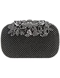 Bonjanvye Flower Purses with Rhinestones Crystal Evening Clutch Bags