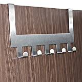 #7: EKRON 5 Stainless Steel Door Hook Organiser/Wall Hook Hanger for hanging Clothes, Jeans,etc