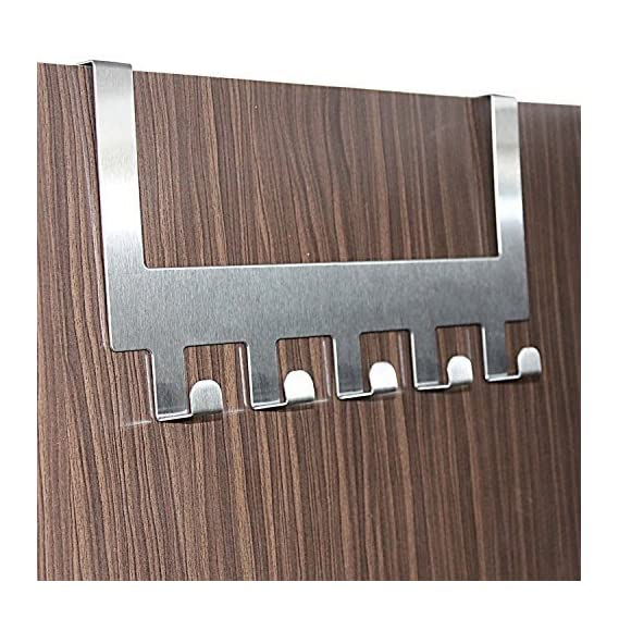 Ekron 5 Stainless Steel Door Hook Organiser/Wall Hook Hanger For Hanging Clothes, Jeans,Etc