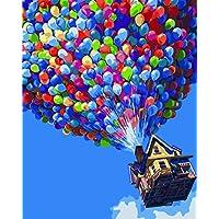 YEESAM ART Nouvelles Peinture au numero pour adulte enfants - Ballon Mouche Maison House Ball 40x50 cm - DIY Painting by Numbers numéro Cadeaux de noël