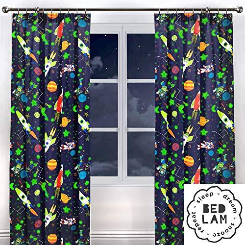 Bedlam, Polyester, Baumwolle, Blau, gefütterter Vorhänge mit Bleistiftfalten