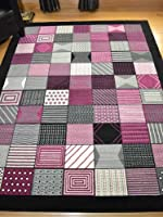 Trend Black Purple Window Design Rug. Available in 8 Sizes by Rugs Supermarket