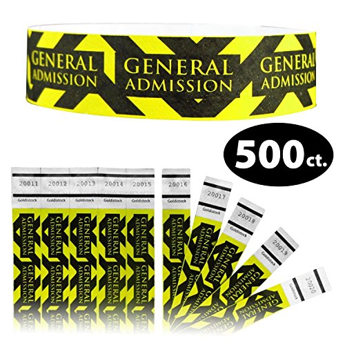 Goldistock 3/10,2 cm Tyvek Wristbands direction General ammissione 500 count - Event identificazione fasce (Paper - like texture) #35- Orange