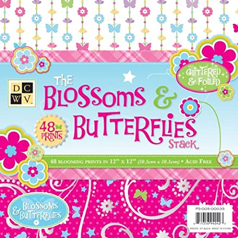 Diecuts With A View 12 x 12-inch Blossoms and Butterflies Paper Stack, Pack of 48,
