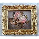 Accessoires Pour Maison De Poupées Miniature Tas de Rose Roses Image Peinture Cadre Doré