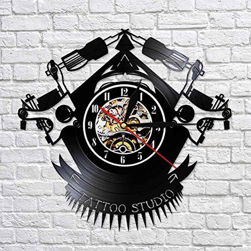 ZSYNB Wanduhr Diseño de reloj de pared de registro de vinilo de Tatuaje Vintage Reloj de vinilo personalizado para tienda de tatuajes para sala de Estar