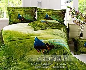 Vert Paon 3D Oiseau plume Motif queen Parure de lit avec housse de couette pour lit sur un lit de feuilles pour la peinture à l'huile de coton, elle est d'une Par couleur Lot/pc