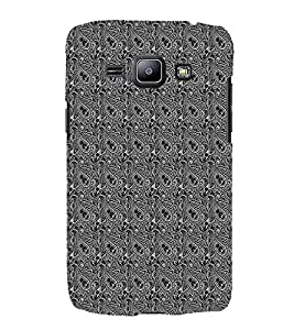 iFasho Animated Pattern design black and white flower in royal style Back Case Cover for Samsung Galaxy J1 (2016 Edition)