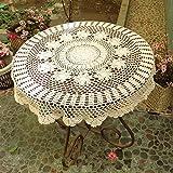 ustide Rustikal Baumwolle Tischdecke rund handgefertigt Crochet Tischdecken beige Tisch umfasst die rund Crochet Tischdekoration für Hochzeiten Designer Tisch Reinigungstuch für Couchtisch 78,7cm