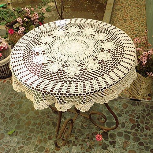 Ustide Tischdecke, 80cm rustikal floral gehäkelte Baumwolle rund handgefertigt Crochet-Tischdecken Tischdekoration für Hochzeiten Round Table Cover Hochzeit