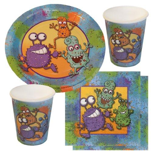 Partyset Monster, 44-tlg., Kindergeburtstag mit 12 Jungen; 12 Papp-Teller, 12 Papp-Bechern, 20 Servietten Monstermotiv Kinderparty
