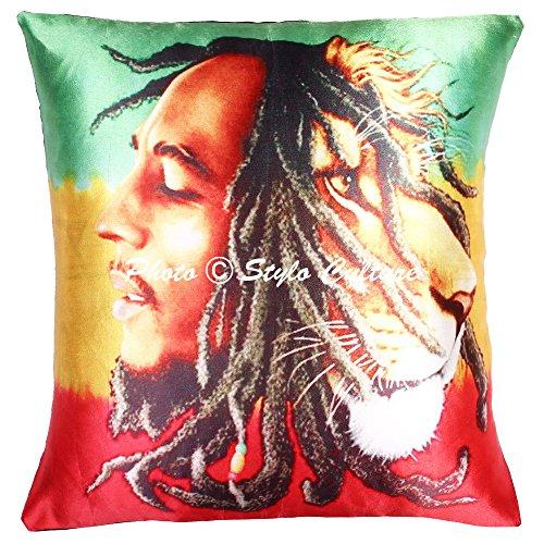 Stylo Culture Polydupion Scatter Kissenbezüge Multi Color Digital Print Wohnzimmer Akzent Kissen Kissenbezug Indian Square Traditionelle Bob Marley 40x40 cm Kissenbezüge (1 PC) (Akzente Traditionelle)