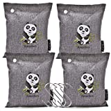 4-Pack Natural Air Purifying Bags 200 gram/bag, Eco Bamboo Charcoal Air Freshener, Moisture Absorber and Odour Eliminator, Room Deodorizer