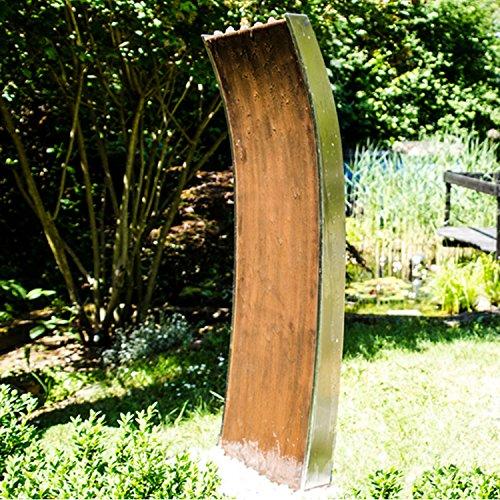 """KÖHKO Wasserwand """"Mexiko"""" mit LED-Beleuchtung Höhe 119 CM Springbrunnen 31003 aus der Kombination von Cortenstahl und Edelstahl"""