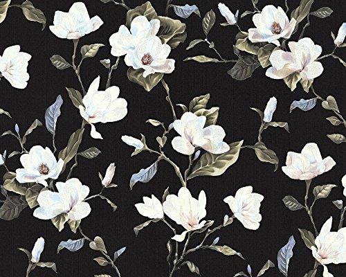 Blumen Tapete EDEM 9000-29 Vliestapete geprägt im romantischen Design matt schwarz creme-weiß beige grün 10,65 m2 (Tapete Schwarz Und Creme)