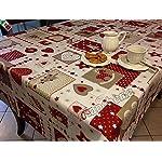"""Tovaglia Natale Cucina Soggiorno Patchwork """"Cuori e Renne"""" cm 140x240 - Made in Italy BIANCA"""