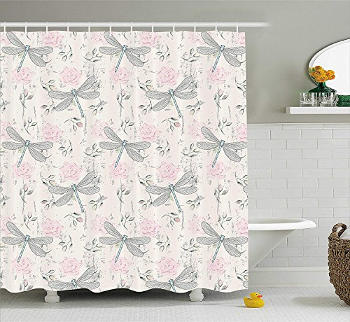 JIEKEIO Dragonfly Shower Curtain, Shabby Chic Roses Worn Old Vintage Backdrop with Moth Bugs Print, Fabric Bathroom Decor Set with Hooks, 60 * 72inch Extra Long, Pale Pink Pale Grey Coconut (Bugs Liner Bed)