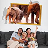 New 3D The New African Elephant Wall Sti...
