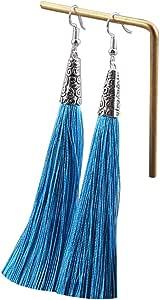 Tooky grandi orecchini lunghi pendenti di cristallo in rilievo nappa orecchini coppia