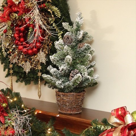2' Potted Flocked Pine Artificial Christmas Tree with Wicker Base - Unlit by Allstate - Wicker Base