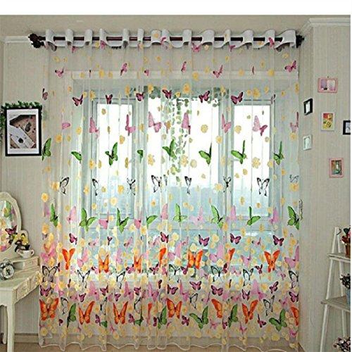 Türkei 1Blumen Schmetterling Drucken Duschvorhang Voile Tür Fenster Vorhänge mit Trennwand Schal-Aufhängen 78,7cm x 39,4cm bunt