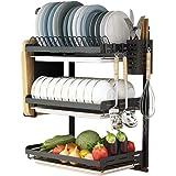 UMI Égouttoir à vaisselle à 3 étages en acier inoxydable noir avec égouttoir et support à baguettes pour couteaux et fournitu