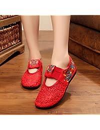 Chnuo Zapatos de la flor del cordón bordado del hilado de la red pequeños zapatos rojos zapatos ocasionales zapatos...