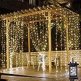 LED-Vorhang-Lichterketten Plugin, 3M X 3M-Warmes Weiß Weihnachtsbeleuchtung, 8 Modi, Schnur-Licht-Netzenergie Für Innen Außen, Schlafzimmer, Gazebo, Party, Garten, Hochzeit Und Vieles Mehr