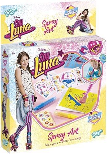 Totum Soy Luna Bastel-Set Spray-Pens – Pustestift-Bilder mit Schablonen, Stiften, Glitzer und Stickern (Spielzeug Bildern Mit)
