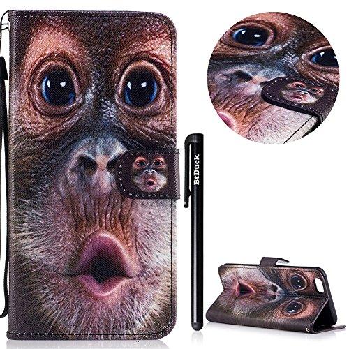 BtDuck Specializzato progettato per Signora Donne Carino Custodia Pelle per iPhone 6 Plus/6S Plus 5.5,BtDuck Ultra Sottile Creativo PU Pelle Borsa e Portafoglio Tasca Libro Stand Case Cover Morbido Si 6 Plus/6S Plus 5.5-Orangutan