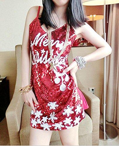 Sexy Kostüm Santa Miss Pailletten - Marcus R Caveggf Frauen Santa Kostüm Weihnachten Kostüm Mini rot Pailletten Kleid Sexy Damen Kostüm Anzug Deluxe Cosplay Outfit