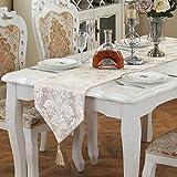LUYR.R European-Style Luxus Tisch Bestickt Tischläufer, Home TV Cabinet Couchtisch Tischdecken,Beige,30*210Cm