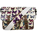 Butterfly Print Oilcloth or Canvas Satchel Messenger Bag