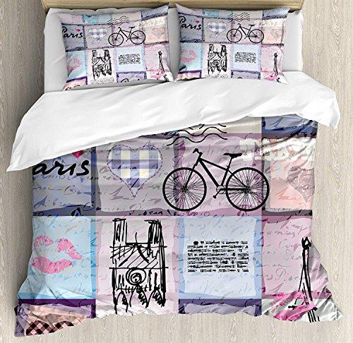 Paris 3 PCS Bettbezug Set, Grunge Textured Retro Collage von Paris mit berühmten Objekt Eiffelturm Europa Thema, Bettwäsche Set Tagesdecke für Kinder / Jugendliche / Erwachsene / Kinder, Multicolor