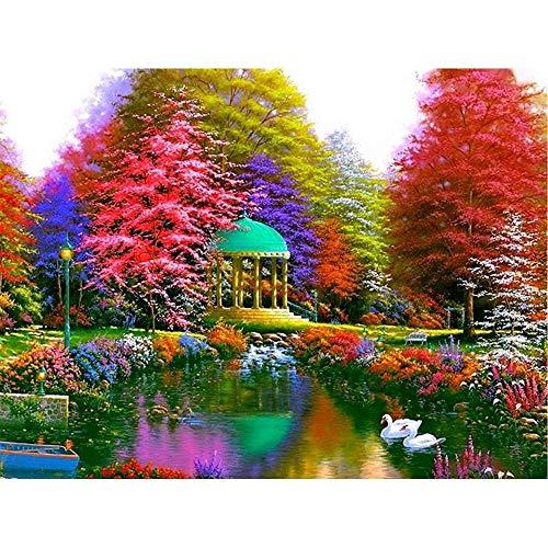 Zhaojiexiaodian 5d pittura diamante diy paesaggio pittura completa trapano alberi strass mosaico diamante ricamo, 50x60 cm