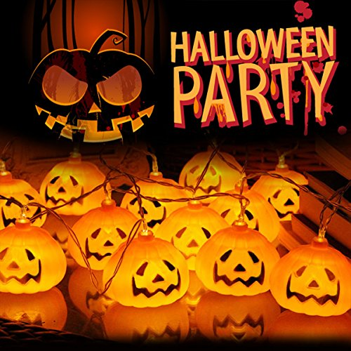 LED String Lights , Veotech 3D LED Kürbis Lichterkette 10 LED 2.6m batteriebetrieben String Lights For Halloween Decoration Indoor&Outdoor Theme Parteien Festival - Warm (Halloween Kostüme Home Easy)