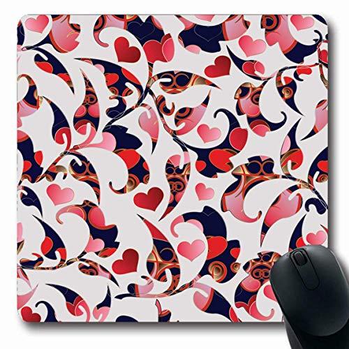 Luancrop Mousepads Garten-Blau-Muster-Blumenweinlese-Liebes-Herz-Damast-roter Abstrakter Arabesken-Barock-Tagesrutschfestes Spiel-Mausunterlage Gummilangmatte -