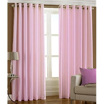 Super India Plain Faux Silk 2 Pieces Eyelet Window Curtain, Polyester Plain Ringtop - 4 x 5ft in Baby Pink