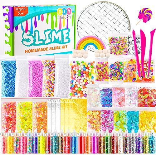 KUUQA 61 pcs Slime Kit, einschließlich Fishbowl-Perlen, Zuckerpapier, Gitter, Googly-Augen, Shell, Scheiben, Konfetti, Schleimschaumperlen, Imitation von Blattgold Sidekick 3 Glitter