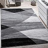 Paco Home Designer Teppich Modern Geschwungene Wellen Linien Muster Kurzflor Meliert Grau, Grösse:160x220 cm