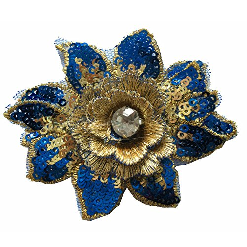 Aufnäher Patch 3D Blume Gold Pailletten Kristall Stickerei Spitze Stoff nähen auf Hochzeit Kleid Tuch Accessory Farbe A - Gold Gesticktes Spitze