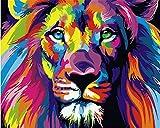 komking DIY Ölgemälde, Malen nach Zahlen Kit für Erwachsene Anfänger, bunt, Tiere Malerei auf Leinwand 40,6x 50,8cm Colorful Lion