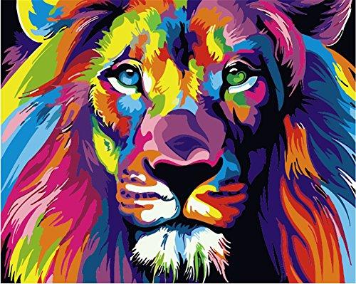 komking DIY Ölgemälde, Malen nach Zahlen Kit für Erwachsene Anfänger, bunt, Tiere Malerei auf Leinwand 40,6x 50,8cm Colorful Lion (Zahlen Nach Malen)